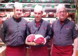 Looking forward to beefing up the 30th anniversary milestone at George Payne Butchers are shop manager Alex Daley, Anthony Cunningham and owner George Payne.